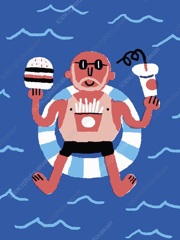Man eating fast food on holiday, illustration