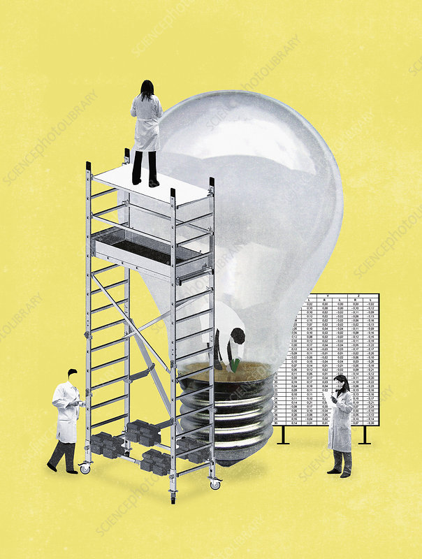 Scientists planting seedling in light bulb, illustration