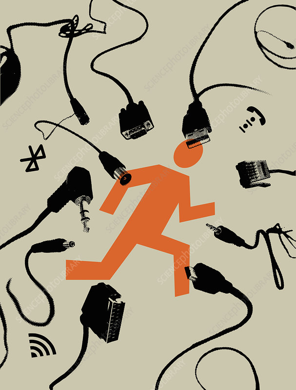 Figure running to escape plugs, illustration