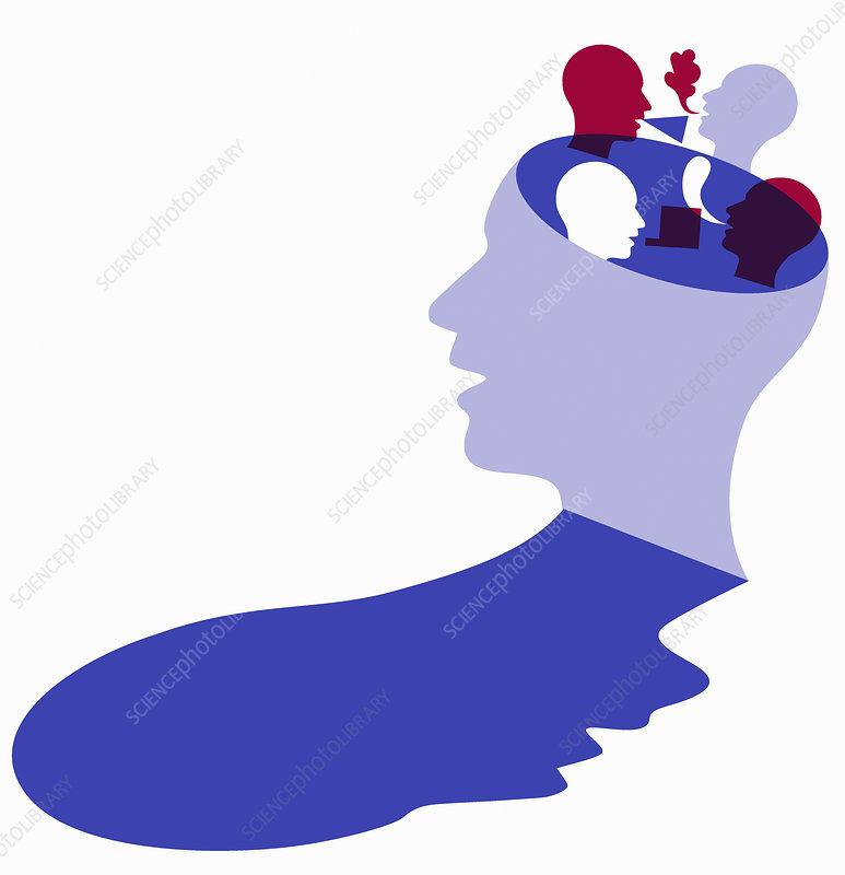 Different ideas inside of man's head, illustration