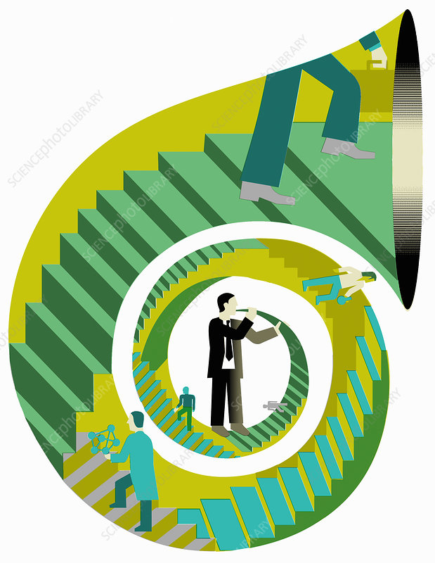 Businessmen and scientists blowing own trumpet, illustration
