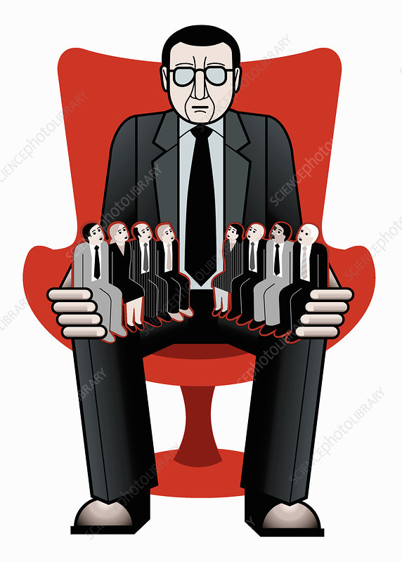Businessman with employees sitting on lap, illustration