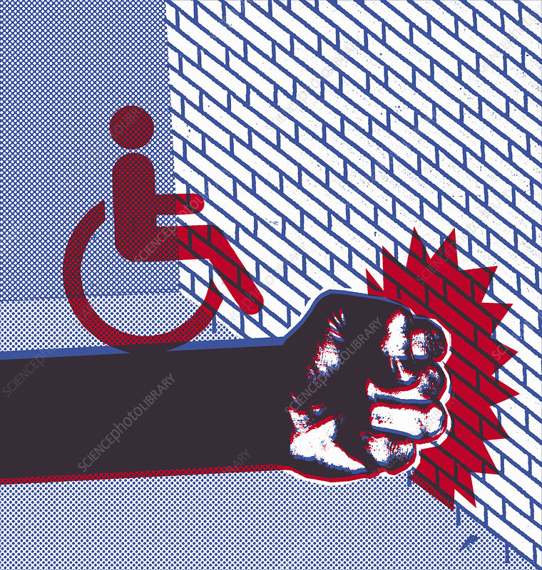 Disabled sign on fist hitting brick wall, illustration