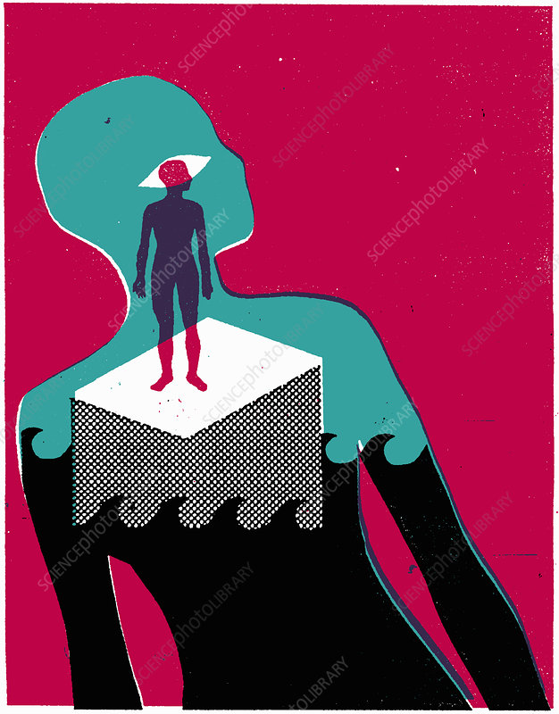 Woman standing above waves, illustration