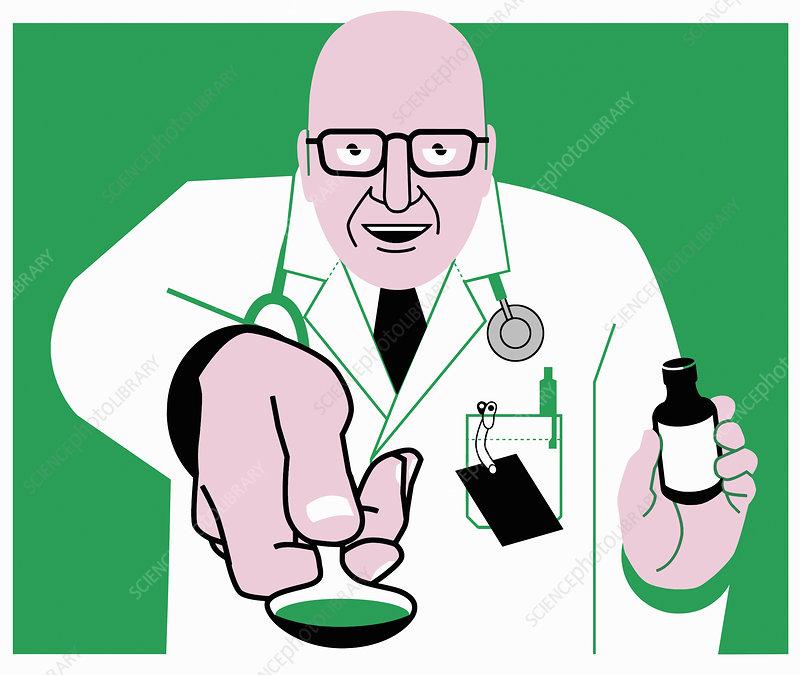 Doctor offering medicine on spoon, illustration