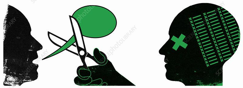 Censor cutting man's speech bubble, illustration