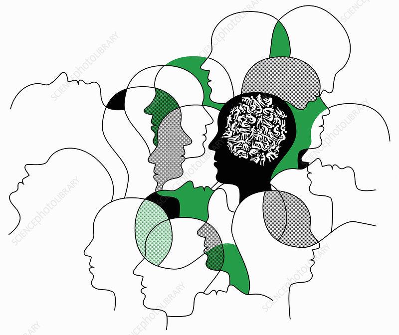 Man's head full of people suffering, illustration