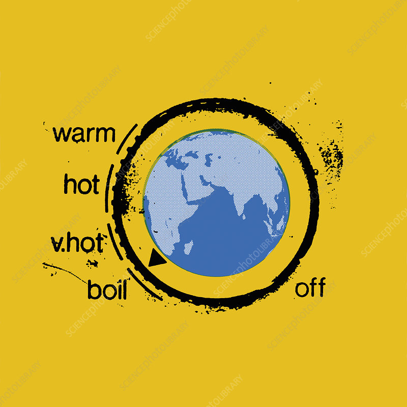 Planet earth as heating thermostat, illustration