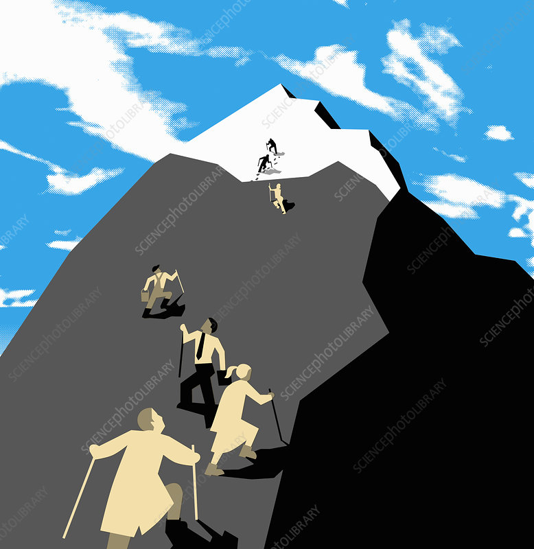 People climbing mountain, illustration