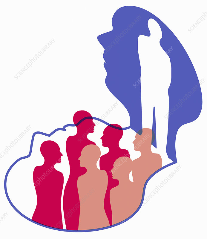 Man thinking about group of people, illustration