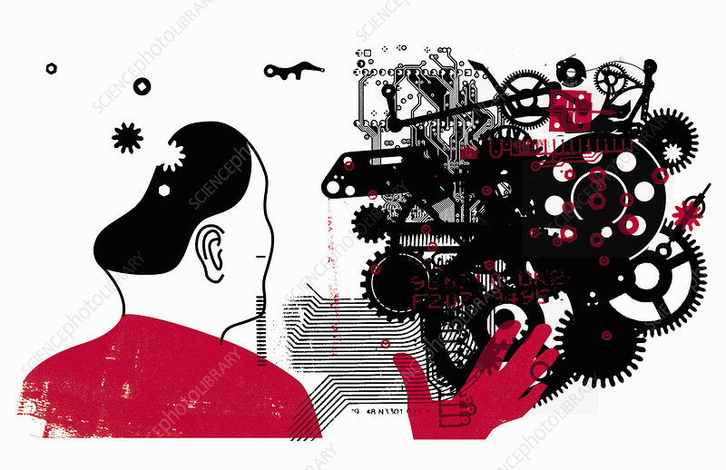 Man connecting with technology, illustration