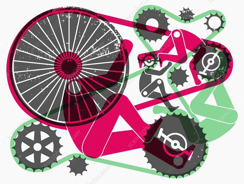 Abstract pattern of bicycles and cyclists, illustration