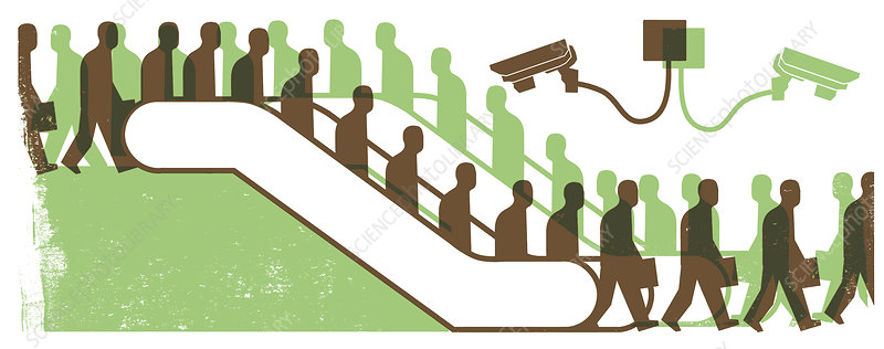 Surveillance cameras watching escalators, illustration