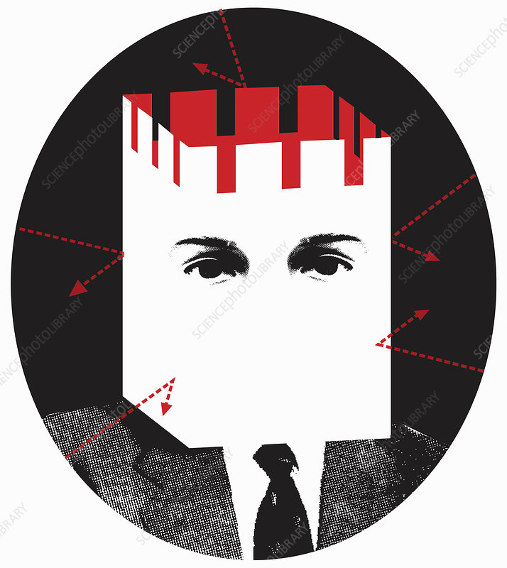Man protected with fortress head, illustration