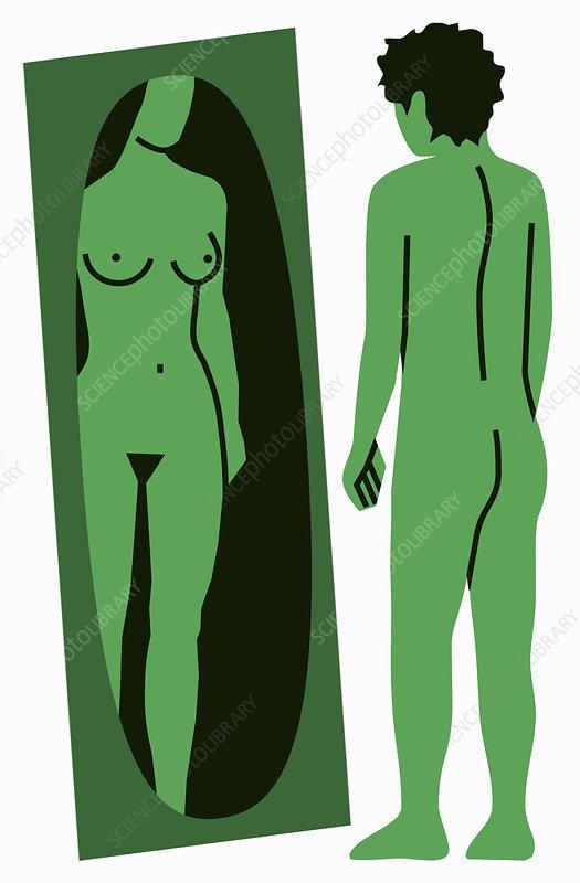 Man seeing female reflection, illustration