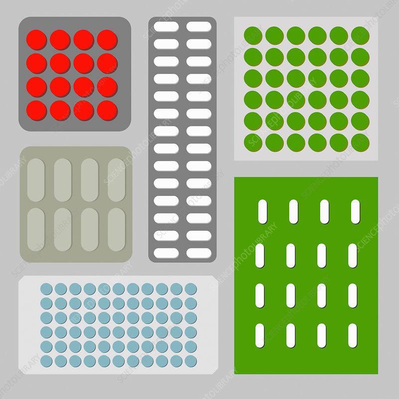 Blister packs of pills arranged in pattern, illustration