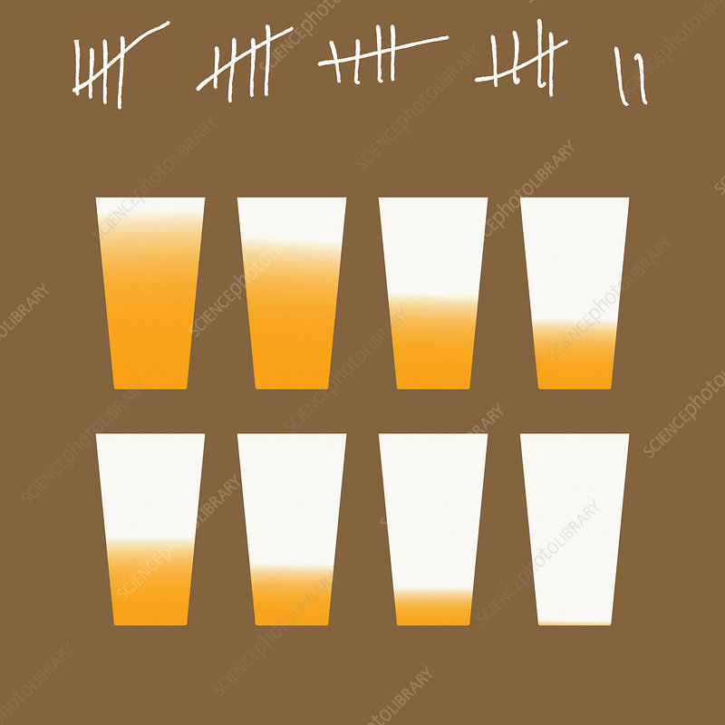 Tally chart for giving up drinking, illustration