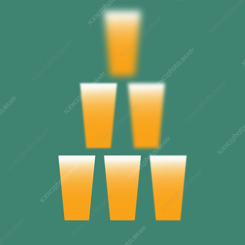 Beer glasses in pyramid getting blurrier, illustration