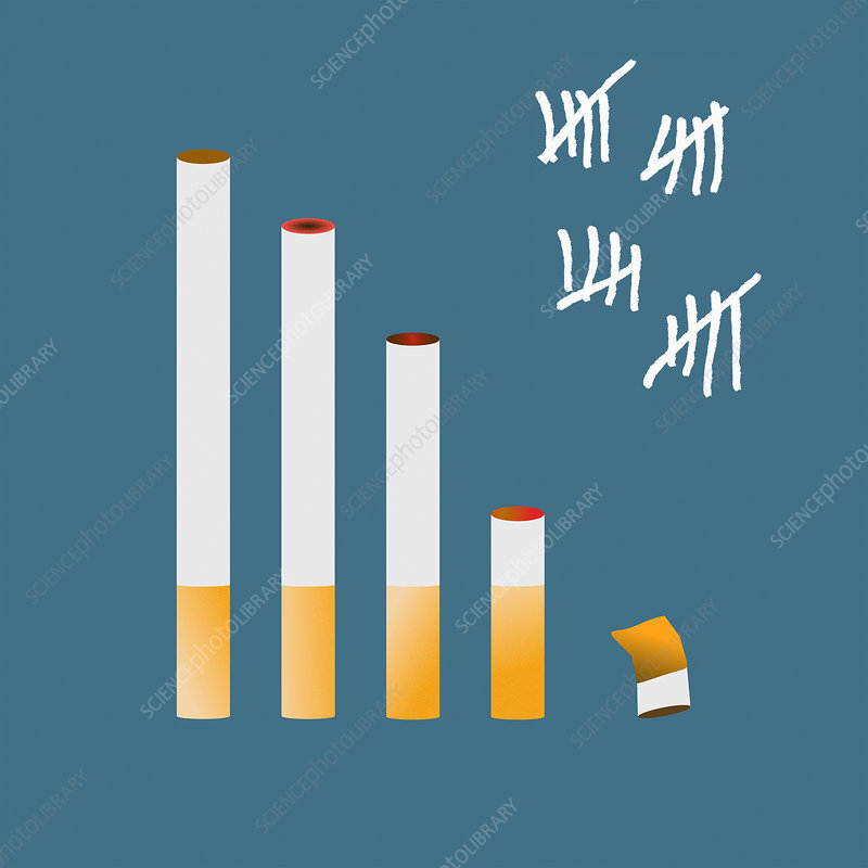 Tally chart for giving up smoking, illustration