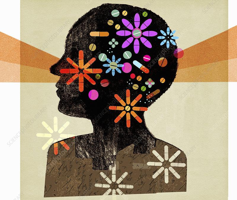 Pills forming multicoloured flowers, illustration