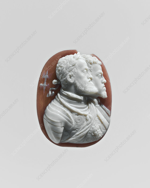 Charles V and Philip II of Spain, carved cameo