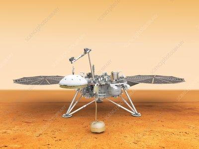 InSight lander deploying instrument, illustration