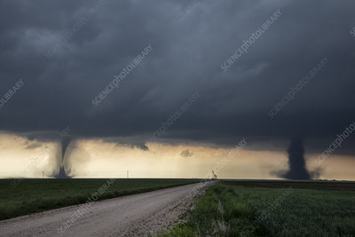 Double tornadoes, Colorado, USA