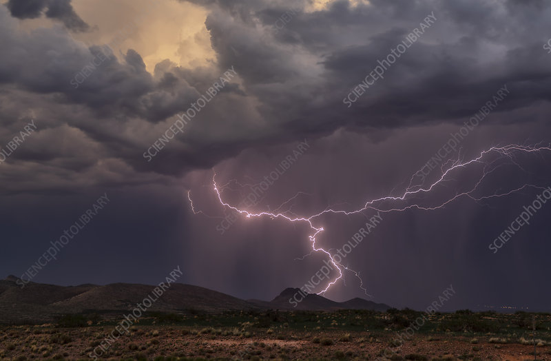 Lightning strike, Arizona, USA