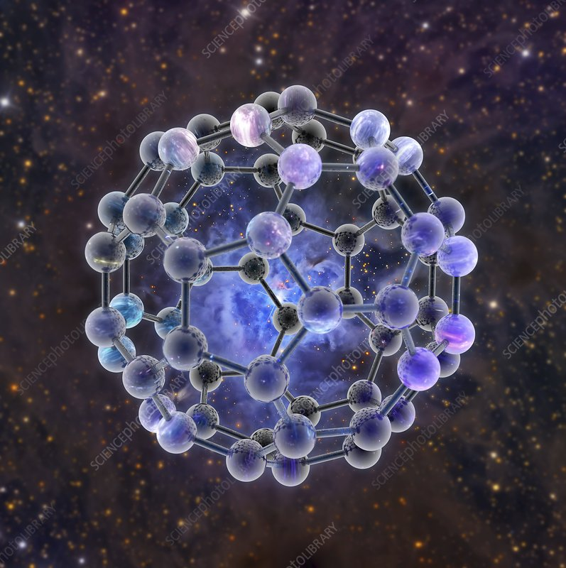 Buckyballs discovered in space, illustration
