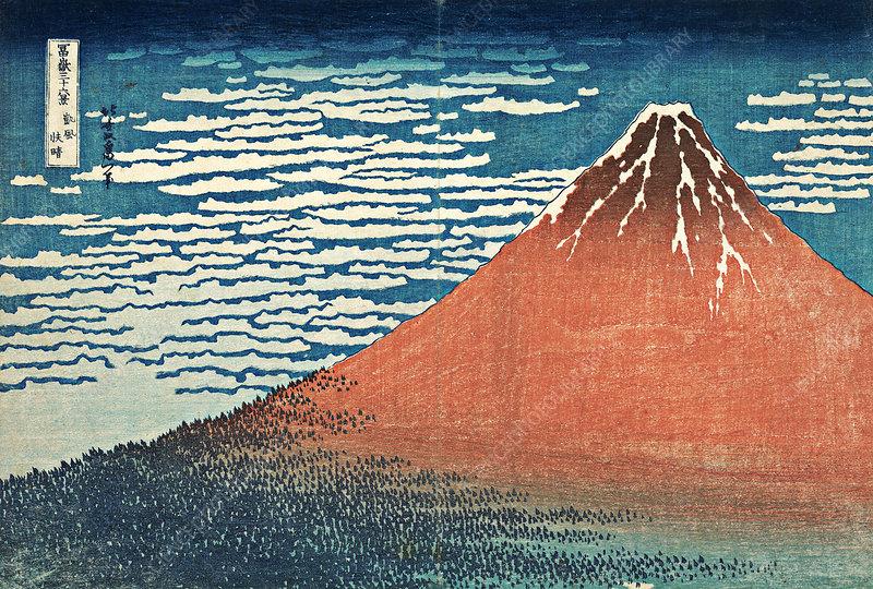 Red Fuji, view of Mount Fuji by Hokusai