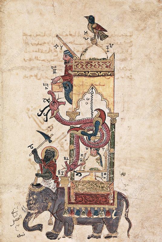 Elephant clock invention, 14th century