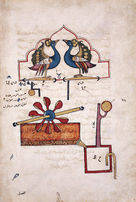 Peacock water clock invention, 14th century