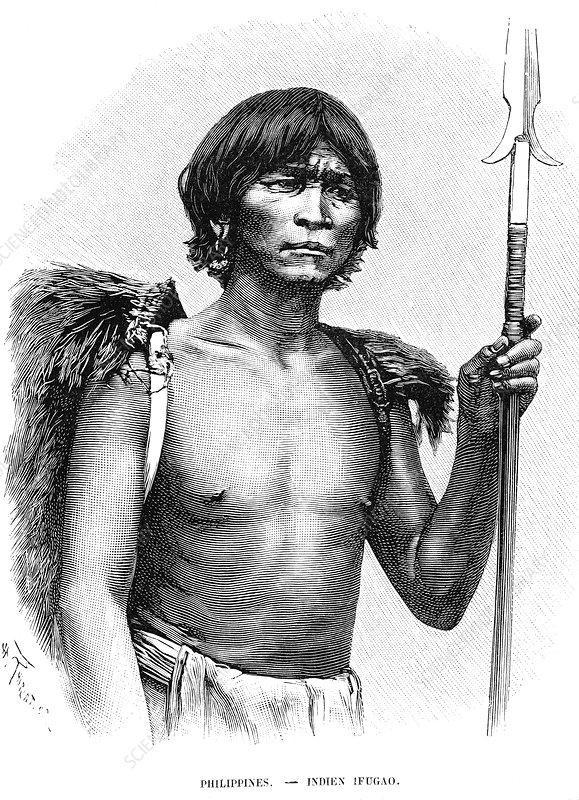 19th Century Ifugao warrior, illustration