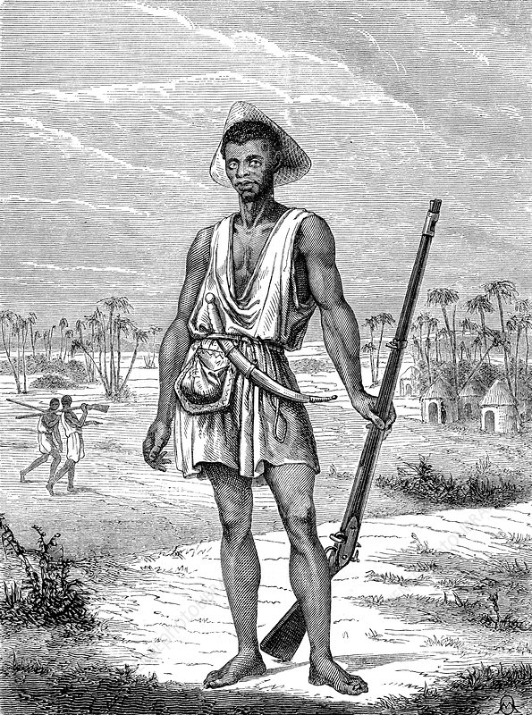 19th Century Dahomey soldier, illustration