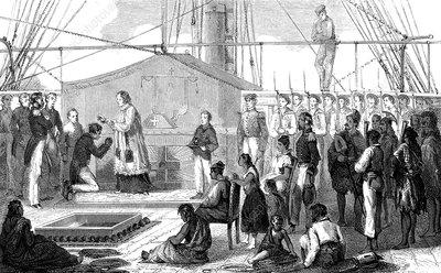 19th Century ship in Sandwich Islands, illustration