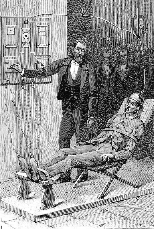 19th Century execution by electric chair, illustration