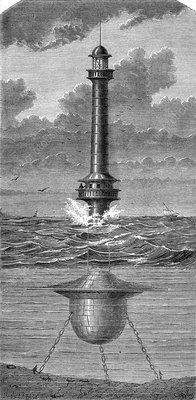 19th Century floating lighthouse, UK, illustration