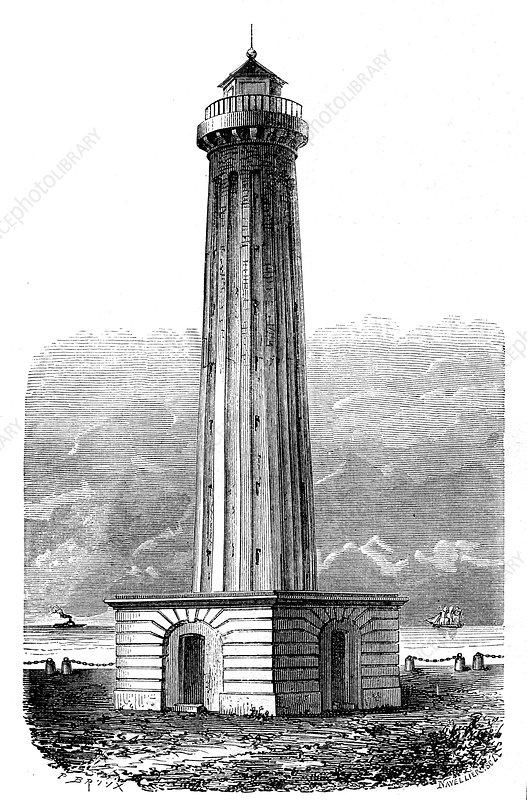 Pondicherry lighthouse, India, 19th Century illustration
