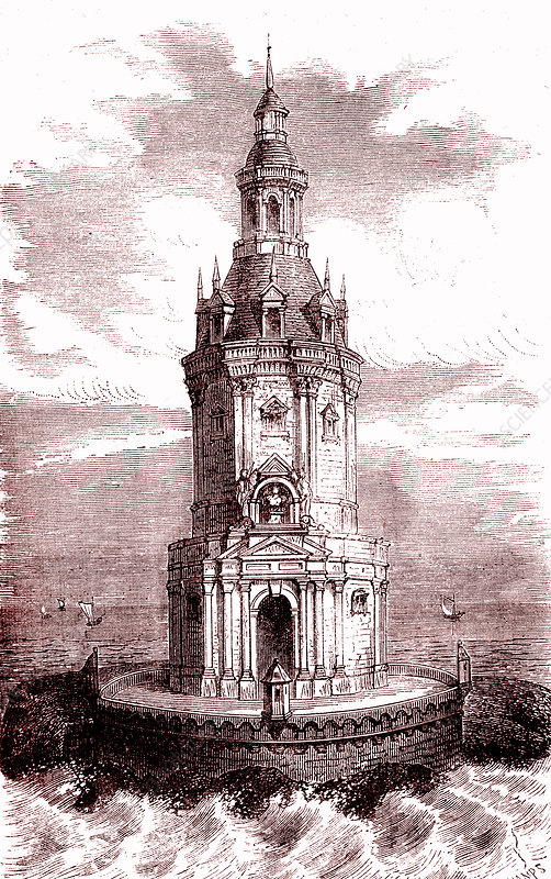 Cordouan lighthouse, France, 19th Century illustration