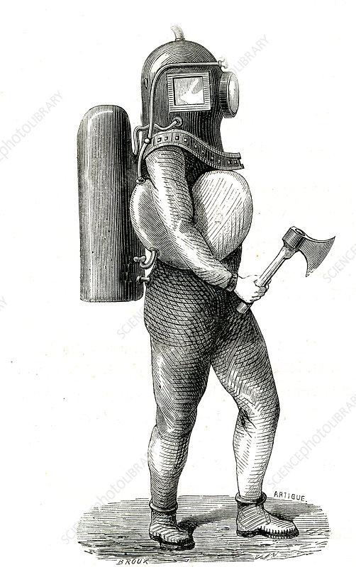 19th Century US diver suit, illustration
