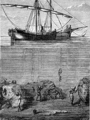 19th Century coral harvesting, illustration