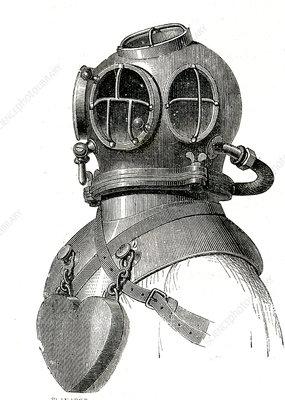 19th Century diving helmet, illustration
