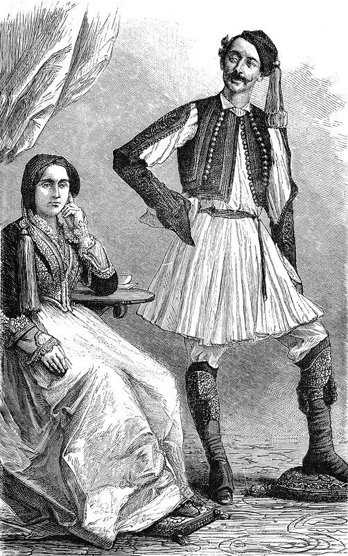 19th Century Greek man and woman, illustration