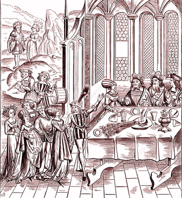 Medieval feast, 19th Century illustration