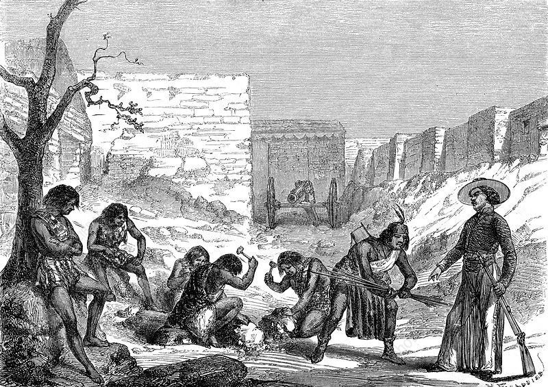 Silver foundry slaves, 19th Century illustration