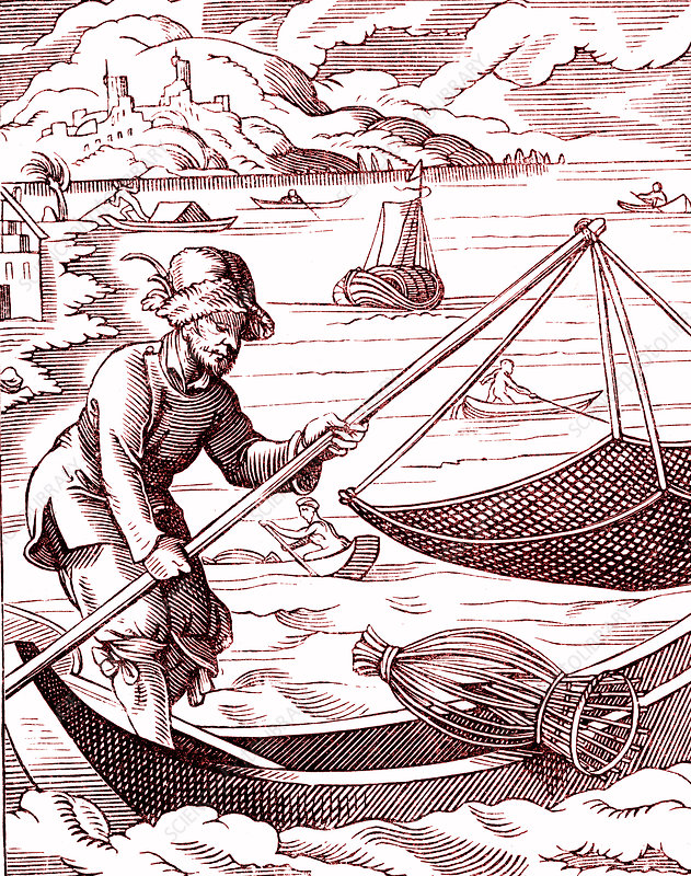 16th Century fisherman, illustration