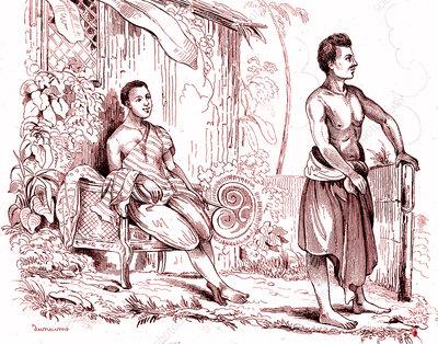 19th Century Thai men, illustration