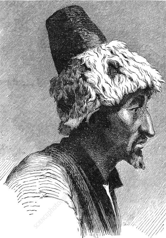 19th Century Mongolian man, illustration