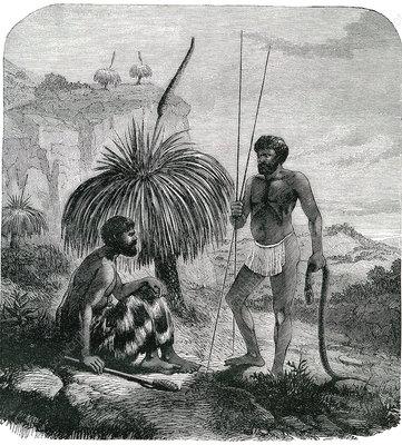 19th Century Australian snake hunters, illustration