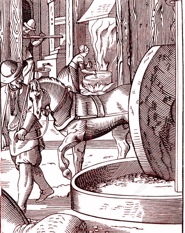 16th Century oil mill, illustration